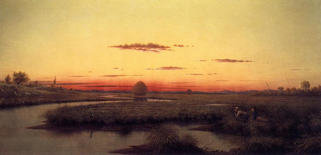 Martin Johnson Heade, Duck hunters in a twilight marsh