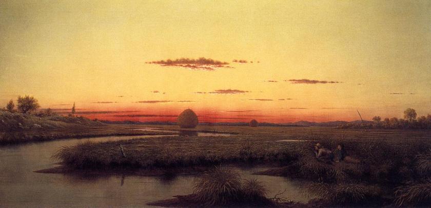 Martin Johnson Heade, Duck hunters in a twilight marsh