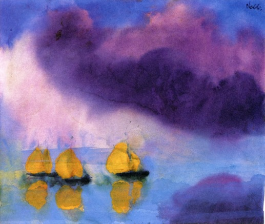 Emile Nolde, Sea with Violet Clouds and Three Yellow Sailboats