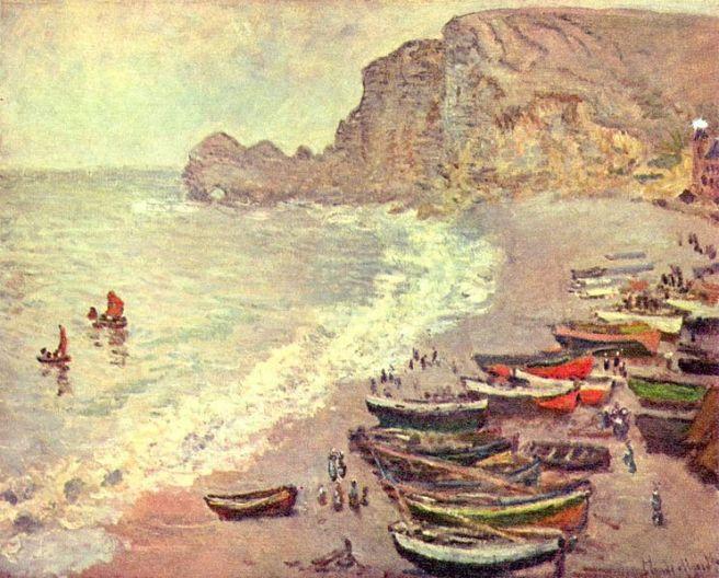 Claude Monet, Étretat, der Strand und La Porte d'Amont